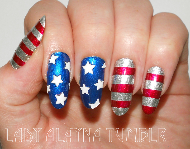 Metallic american flag nails by Alayna Josz - 30+ Patriotic Nail Art Designs For 4th Of July Nailpolis Magazine