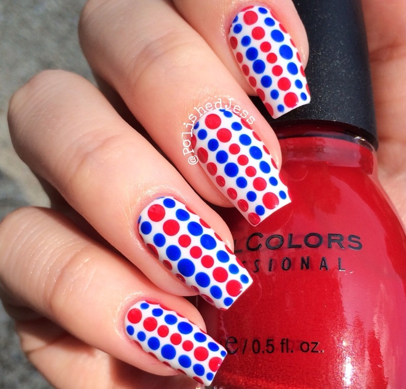30 patriotic nail art designs for 4th of july nailpolis magazine independence day dots by jess prinsesfo Image collections