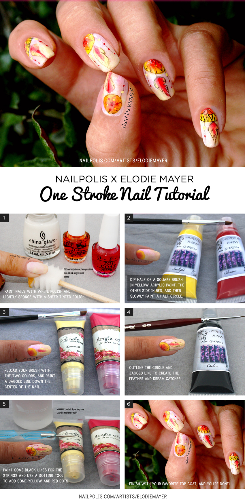 One Stroke Dreamcatcher Nail Art Tutorial | Nailpolis Magazine